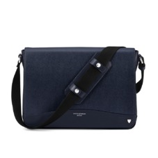 Anderson Large Messenger Bag in Navy Saffiano. Mens Messenger Bags from Aspinal of London
