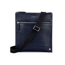 Anderson Small Messenger Bag in Navy Saffiano. Mens Messenger Bags from Aspinal of London