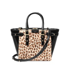 Mini Marylebone Tote in Leopard Haircalf & Black Polish. Handbags & Clutches from Aspinal of London