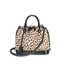 Mini Hepburn Bag in Leopard Haircalf & Black Polish. Handbags & Clutches from Aspinal of London
