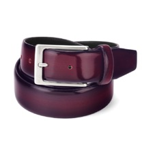 Men's Formal Leather Belt in Burgundy Shine