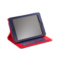 iPad Mini Stand Up Case in Midnight Blue Lizard & Red Suede
