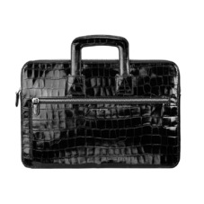 Connaught Document Case in Deep Shine Black Croc
