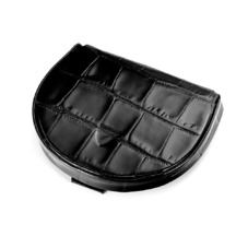Horseshoe Coin Holder in Deep Shine Black Croc