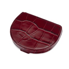 Horseshoe Coin Holder in Deep Shine Bordeaux Croc