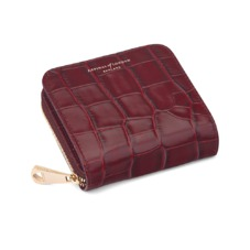 Mini Continental Zipped Coin Purse in Deep Shine Bordeaux Croc