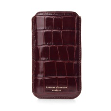 iPhone 6 Plus Leather Sleeve in Deep Shine Amazon Brown Croc