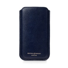 iPhone 6 Plus Leather Sleeve in Midnight Blue Lizard