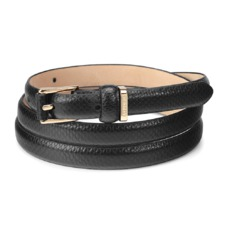 Ladies Skinny Westbourne Belt in Jet Black Lizard