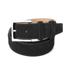 Men's Chelsea Suede Belt in Black Suede