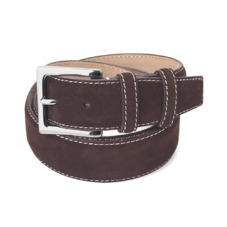 Men's Chelsea Suede Belt in Brown Suede