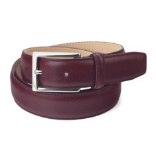 Men's Borough Belt in Bordeaux Saffiano