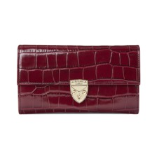Mayfair Purse in Deep Shine Bordeaux Croc