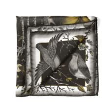 Robin Silk Twill Handkerchief in Black & Gold