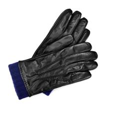 Mens Leather Gloves with Knitted Cuff in Black Nappa & Navy Knit