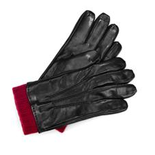 Mens Leather Gloves with Knitted Cuff in Black Nappa & Bordeaux Knit