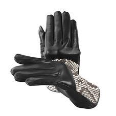 Ladies Python Leather Gloves in Black Nappa & Natural Python