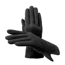 Ladies Sheepskin Lined Suede Gloves in Black Suede