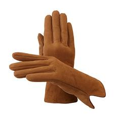 Ladies Sheepskin Lined Suede Gloves in Tan Suede