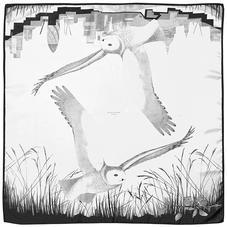 Owl in the City Silk Scarf in Monochrome