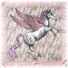 Pegasus Feather Silk Twill Scarf in Rose (35