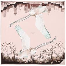 Owl in the City Silk Scarf in Champagne & Deer Brown