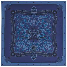 Aspinal Signature Shield Silk Scarf in Midnight Blue