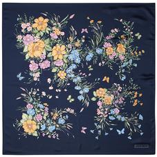 Bouquet of Flowers Silk Scarf in Blue