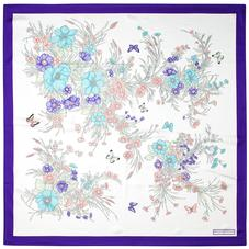 Bouquet of Flowers Silk Scarf in Purple