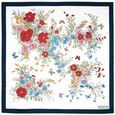 Bouquet of Flowers Silk Scarf in Midnight Blue