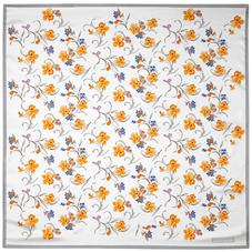 Mini Flowers Silk Scarf in Grey