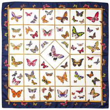 Multi Coloured Butterflies Silk Scarf in Midnight Blue