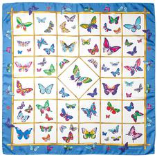 Multi Coloured Butterflies Silk Scarf in Forget Me Not