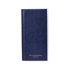iPhone 6 Leather Book Case in Midnight Blue Lizard & Stone Suede