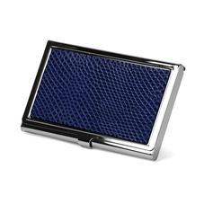 Stainless Steel Business Card Holder in Midnight Blue Lizard