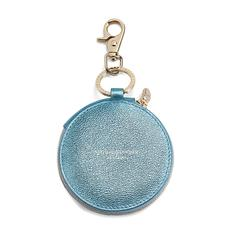 Round Coin Purse with Keyring in Metallic Misty Blue