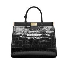 Large Florence Snap Bag in Deep Shine Black Croc & Smooth Black