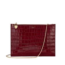 Soho Double Sided Clutch in Deep Shine Bordeaux Croc