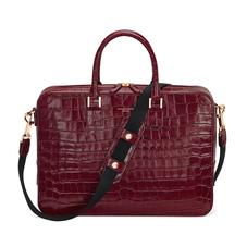Small Mount Street Bag in Deep Shine Bordeaux Croc