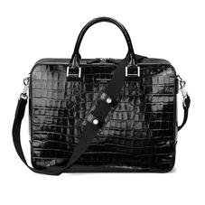 Large Mount Street Bag in Deep Shine Black Croc
