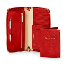Zipped Travel Wallet with Passport Cover in Berry Lizard
