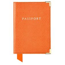 Passport Cover in Orange Lizard & Cream Suede