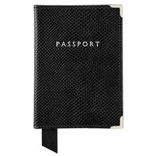 Passport Cover in Jet Black Lizard & Red Suede