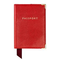 Passport Cover in Berry Lizard & Cream Suede