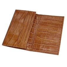 Large Breast Pocket Wallet in Deep Shine Vintage Tan Croc & Cappuccino Suede