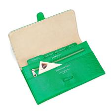 Classic Travel Wallet in Grass Green Lizard & Cream Suede