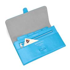 Classic Travel Wallet in Aquamarine Lizard & Silver Suede