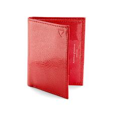 Double Credit Card Case with Back Pocket in Berry Lizard & Cream Suede