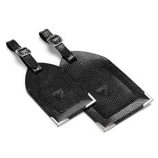 Set of 2 Luggage Tags in Jet Black Lizard