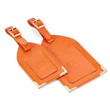 Set of 2 Luggage Tags in Orange Lizard
